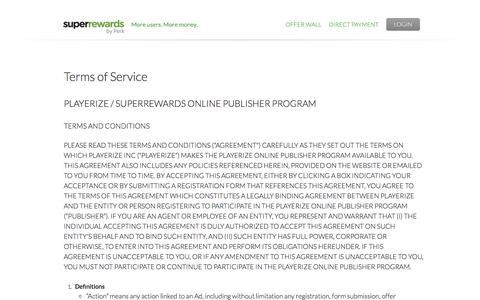 Screenshot of Terms Page superrewards.com - Terms of Service | SuperRewards - captured July 4, 2016