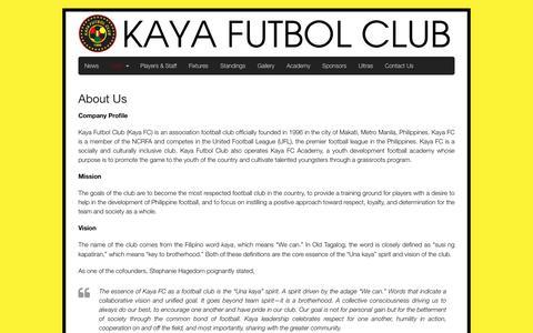 Screenshot of About Page kayafc.com - About Us | Kaya Futbol Club - captured Feb. 12, 2016