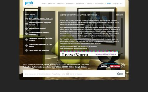 Screenshot of Press Page pmhinteriors.co.uk - PMH Interoriors exhibiting at Living North Live - captured Sept. 26, 2014