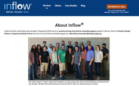 Screenshot of About Page goinflow.com - About Inflow – Inbound Marketing Experts - Denver, CO Formerly seOverflow - captured Oct. 13, 2016