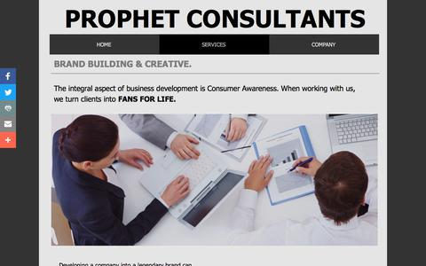 Screenshot of Services Page prophetconsultants.com - Services - captured July 9, 2018