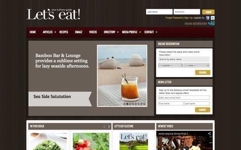 Screenshot of Home Page letseatmag.com - Let's Eat Magazine - captured Oct. 2, 2014