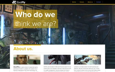Screenshot of About Page zootfly.com - Zootfly | About Us - captured Sept. 30, 2014