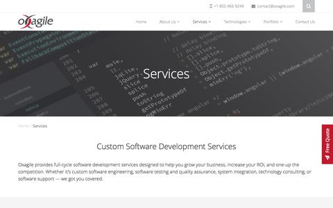 Screenshot of Services Page oxagile.com - Software Development Services - Oxagile - captured June 27, 2016