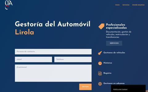 Screenshot of Home Page gestorialirola.com - Gestoría del Automóvil. Gestión de vehículos, matriculación y transferencias - captured Oct. 22, 2018