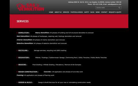 Screenshot of Services Page gasdemo.com - Gas Demolition » Services - captured Jan. 23, 2016