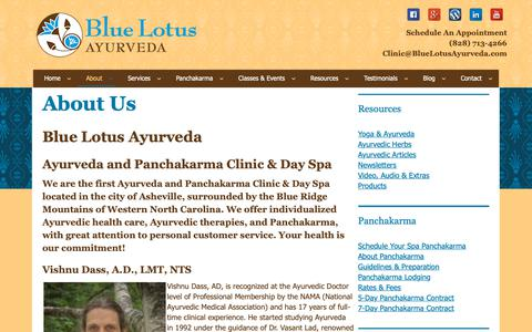 Screenshot of About Page bluelotusayurveda.com - About Us - captured Oct. 6, 2018