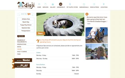Screenshot of Hours Page dioji.com - Hours at DIOJI K-9 Resort& Athletic Club - captured March 12, 2016