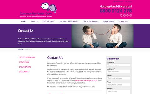 Screenshot of Contact Page communityfostercare.co.uk - Contact Us | Community Foster Care - captured July 20, 2018