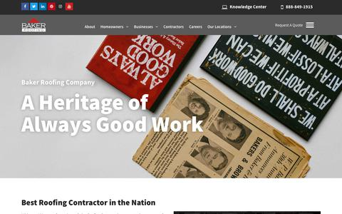 Screenshot of About Page bakerroofing.com - About Baker Roofing Company | Baker Roofing History - captured June 30, 2019