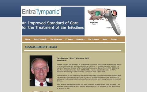 Screenshot of Team Page entratympanic.com - Management - captured Sept. 16, 2014