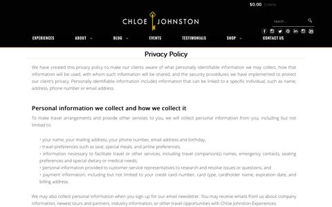 Screenshot of Privacy Page chloejohnston.com - Privacy Policy - Chloe Johnston - captured Oct. 6, 2016