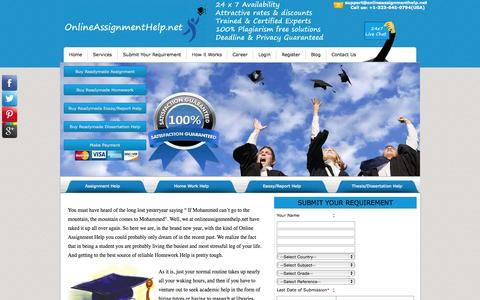 Screenshot of Home Page onlineassignmenthelp.net - Online assignment help   Homework Help   Assignment Help - captured Sept. 22, 2015