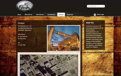 Screenshot of Contact Page coltexploration.com - Colt Exploration Co., Inc. - captured Oct. 2, 2014