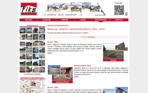 Screenshot of Locations Page fiks.be - Toutes les nouveautés - Groupe FIKS : Agences immobilières - Brabant wallon - Province de Namur - maisons, fermettes, villas, terrains, commerces, bureaux, immeubles de rapport, à vendre ou à louer - captured Sept. 30, 2014