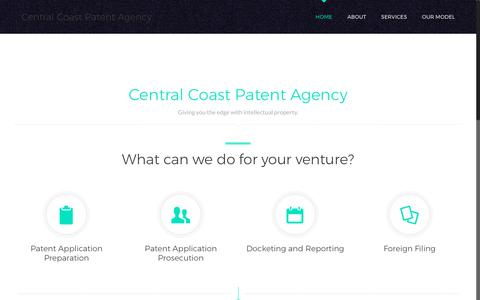 Screenshot of Home Page centralcoastpatent.com - Central Coast Patent Agency, LLC. | - captured July 5, 2017