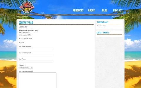 Screenshot of Contact Page noworrysclothing.com - Contact/FAQ | No Worrys Authentic Brand - captured Oct. 26, 2014