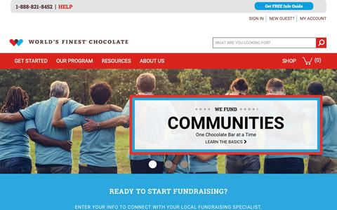 Screenshot of Home Page worldsfinestchocolate.com - World's Finest Chocolate Fundraising |  The Best Value in Fundraising - captured Oct. 20, 2018