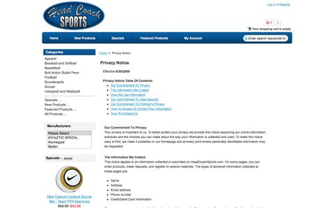 Screenshot of Privacy Page headcoachsports.com - Privacy Notice : Head Coach Sports, Your stop for scoreboards, basketball goals, soccer goals, uniforms, and sporting goods equipment - captured Dec. 8, 2015