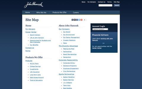 Screenshot of Site Map Page johnhancock.com - Sitemap - John Hancock - captured Feb. 9, 2016