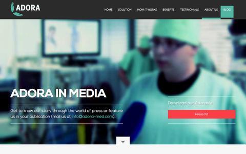 Screenshot of Press Page adora-med.com - ADORA - Innovative Healthcare Solutions - captured Feb. 4, 2016