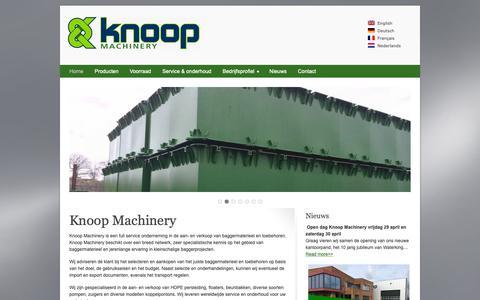 Screenshot of Home Page knoopmachinery.nl - Knoop Machinery BV | Baggermaterieel, toebehoren en bouwmachines - captured Oct. 15, 2018
