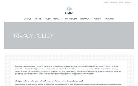 Screenshot of Privacy Page saragroup.com - Privacy Policy - Sara Group - captured Sept. 28, 2017