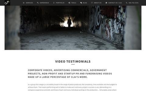 Screenshot of Testimonials Page clai.tv - Video Testimonials - captured Sept. 28, 2018