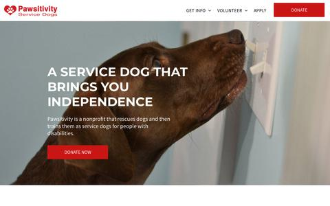 Screenshot of Home Page pawsitivityservicedogs.com - Pawsitivity Service Dogs - captured July 16, 2018