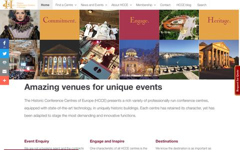 Screenshot of Home Page hcce.com - Unique Conference and Event Venues - captured Sept. 28, 2018