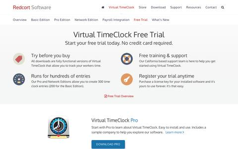 Screenshot of Trial Page redcort.com - Free Virtual TimeClock Software Trial | Download Free Time Tracking Trial - captured Nov. 29, 2016