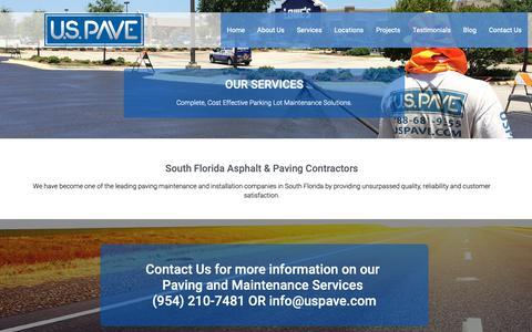 Screenshot of Services Page uspave.com - U.S. Pave - South Florida Asphalt & Paving Contractors - captured Nov. 5, 2018