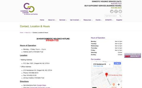 Screenshot of Maps & Directions Page Hours Page compassctr.org - Contact, Location & Hours | Compass Center | | Chapel Hill , North Carolina | Helping individuals and families build stable lives by increasing self-sufficiency and preventing domestic violence. - captured Sept. 29, 2018