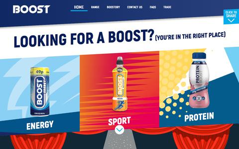Screenshot of Home Page boostdrinks.com - BOOST Drinks - captured Aug. 3, 2018