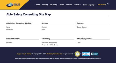 Screenshot of Site Map Page ablesafety.com - Sitemap - Able Safety Consulting - captured Nov. 12, 2018