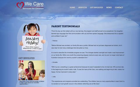 Screenshot of Testimonials Page wecarechildren.org - We Care Children » Testimonials - captured Oct. 27, 2014