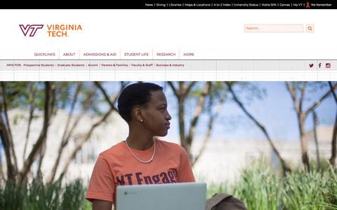 Screenshot of Home Page vt.edu - Virginia Tech homepage | Virginia Tech - captured Sept. 26, 2017