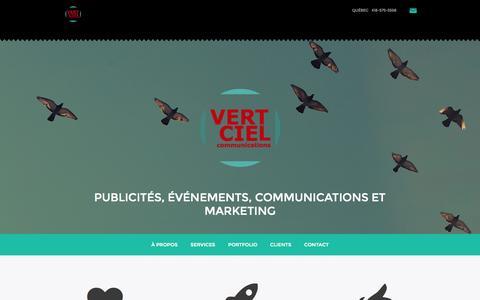 Screenshot of Home Page vertciel.ca - Vert Ciel Communications - Agence de créativité stratégique, publicités, logo, graphisme, site Internet - captured Oct. 9, 2014
