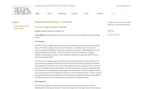 Screenshot of Case Studies Page instituteforsocialdesign.com - Representative Case Study - Corporation - Institute for Social Design - captured Oct. 6, 2014