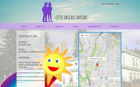 Screenshot of Contact Page littlerascals.ca - Contact Us - captured Aug. 20, 2017