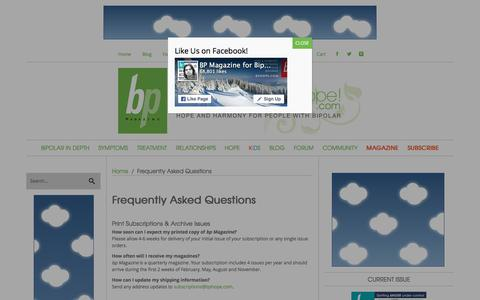 Screenshot of FAQ Page bphope.com - Frequently Asked Questions | bpHope - bp Magazine Community - captured Feb. 2, 2016