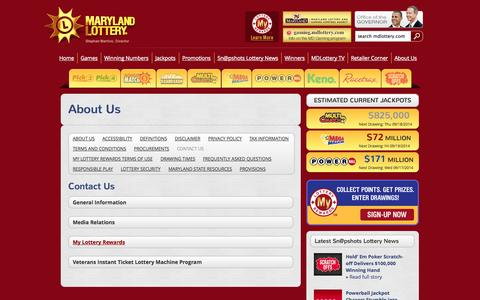 Screenshot of Contact Page mdlottery.com - Maryland Lottery   - About Us  –  Contact Us - captured Sept. 18, 2014