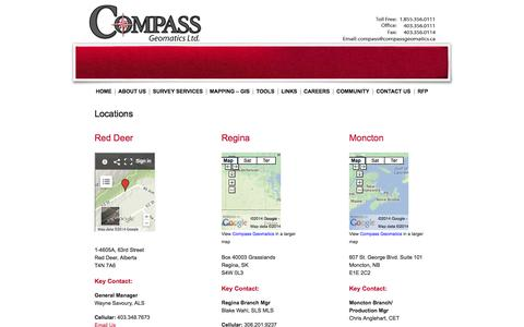 Screenshot of Contact Page Locations Page compassgeomatics.ca - Locations | Compass Geomatics Professional Surveying & Mapping Company  Calgary, Alberta - captured Oct. 22, 2014