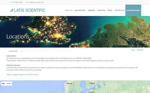 Screenshot of Locations Page latisscientific.co.uk - Latis Scientific | Locations - Latis Scientific - captured Dec. 7, 2015