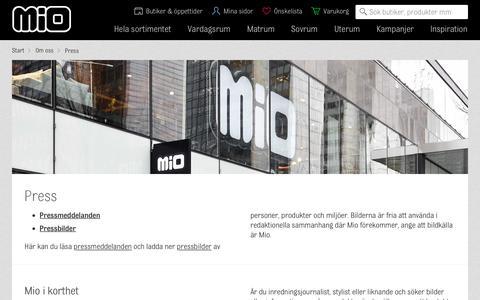 Screenshot of Press Page mio.se - Press | Mio - captured Oct. 25, 2017
