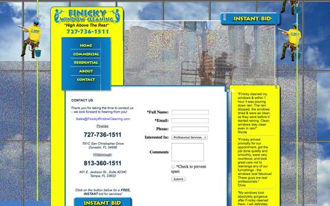 Screenshot of Contact Page finickywindowcleaning.com - Finicky Window Cleaning and pressure washing services for commercial and residential.  Serving Tampa Bay, Dunedin, Tampa, Clearwater, Oldsmar, Belleaire, Safety Harbor, West Chase, Tarpon Springs - captured Oct. 6, 2014