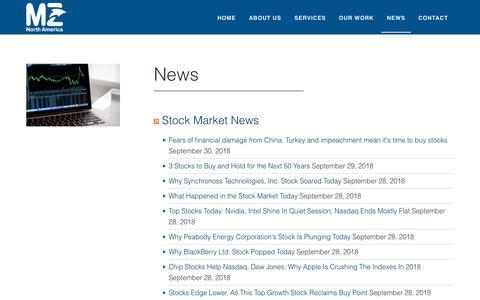 Screenshot of Press Page mzgroup.us - News - captured Sept. 30, 2018