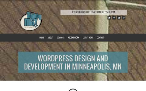 Screenshot of Home Page About Page Services Page themightymo.com - Wordpress Design and Development in Minneapolis, MN - The Mighty Mo! Design Co. LLC - captured Sept. 19, 2014