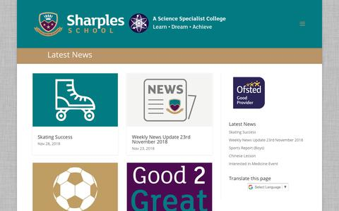 Screenshot of Press Page sharplesschool.co.uk - News | Sharples School - captured Nov. 29, 2018