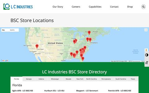 Screenshot of Locations Page lcindustries.com - BSC Store Locations - LC Industries - captured July 14, 2018